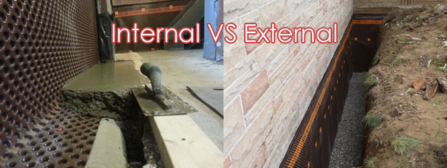 the difference between interior and exterior basement