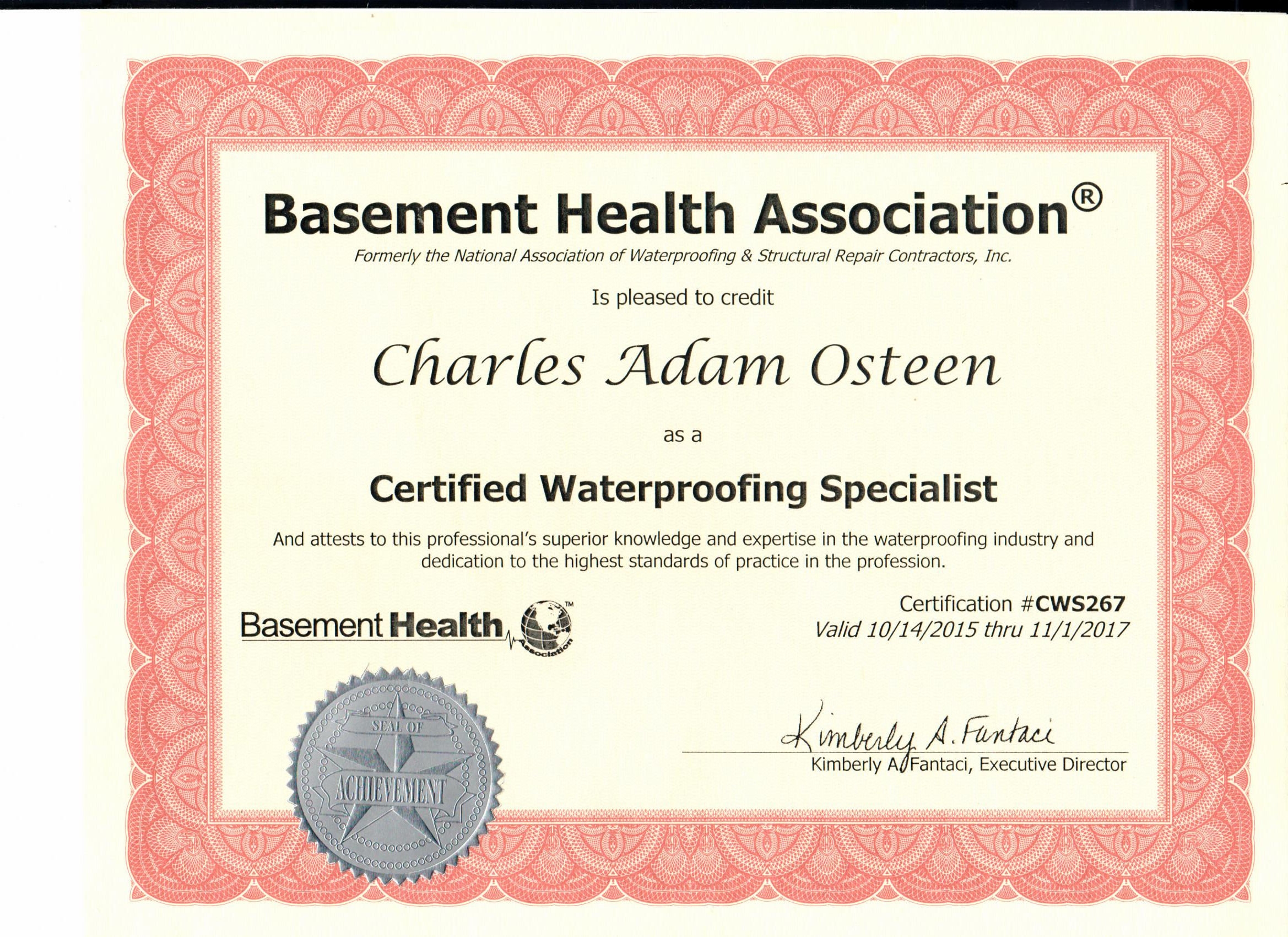 Everdry Basement Waterproofing Atlanta | Basement Health Association Certified Award Charles Adam Osteen