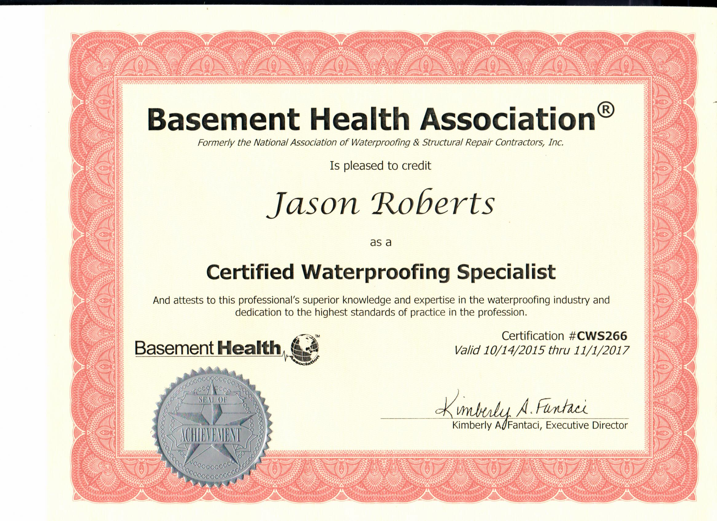 Everdry Basement Waterproofing Atlanta | Basement Health Association Certified Award Jason Roberts