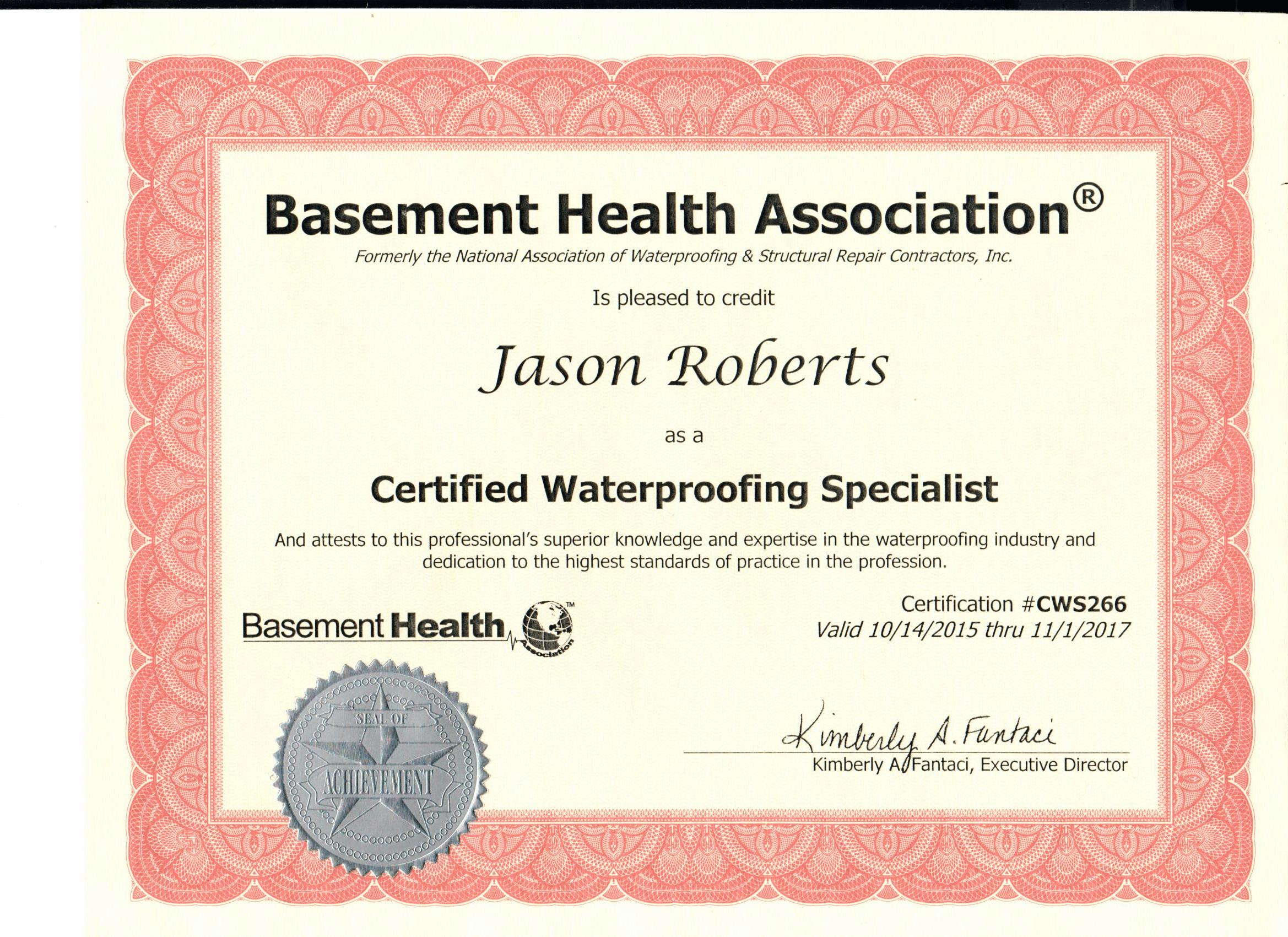 Everdry Basement Waterproofing Atlanta | Basement Health Association Certified Award Jason Roberts