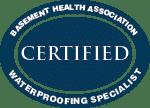 Everdry Basement Waterproofing Atlanta | Basement Health Association Certified Waterproofing Specialist Award